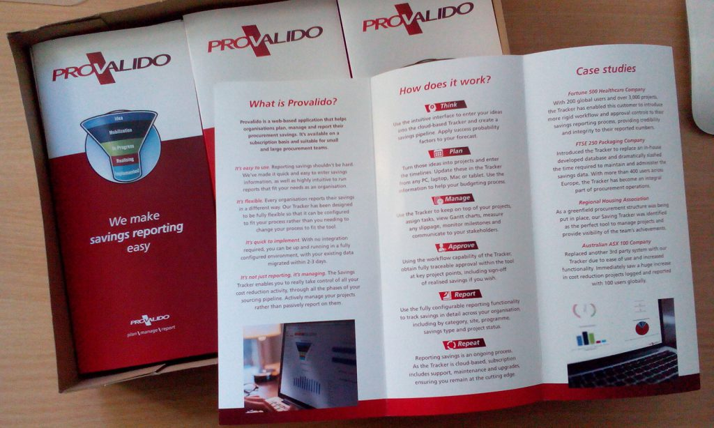 Leaflets printed for Provalido