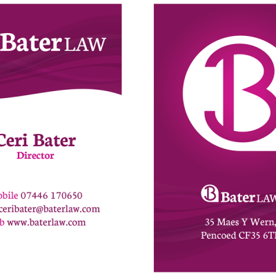 The front and back of the Bater Law business cards.