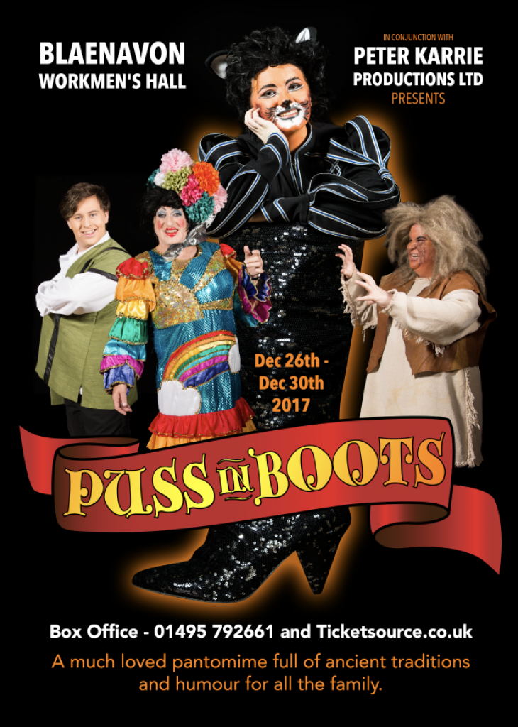 Puss in Boots flyer for Blaenavon pantomime.